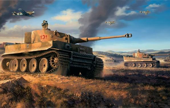 Picture tiger, figure, art, tank, tiger, heavy, Nicolas Trudgian, North Africa, Pz.Kpfw. VI