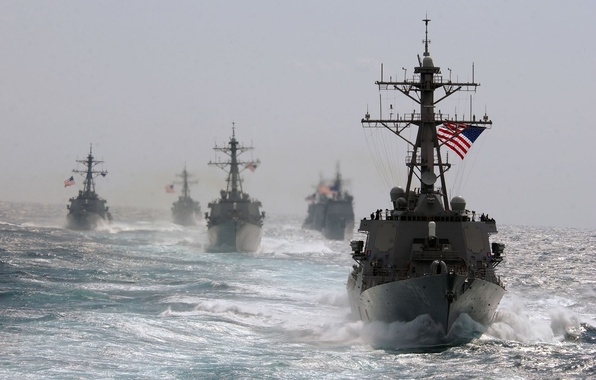 Picture Sea, Wave, The wind, Ships, Military, USA