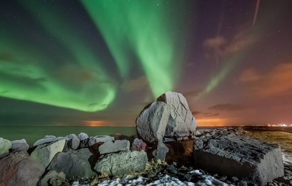 Picture sea, stars, mountains, night, stones, Northern lights, Iceland