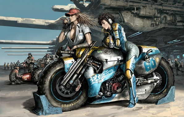 Picture weapons, girls, race, motorcycle, waiting, Art