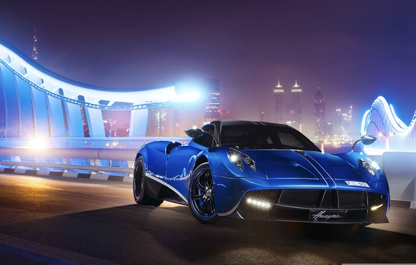 Picture Pagani, Blue, Front, Supercar, To huayr, Track, Ligth, Nigth