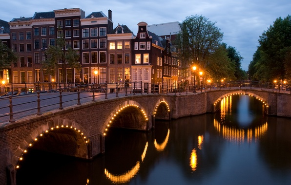 Picture bridge, lights, Amsterdam, crossroads, angle, channel, Netherlands, twilight, Amsterdam, view, dusk, Netherlands, corner, Reguliersgracht, the ...