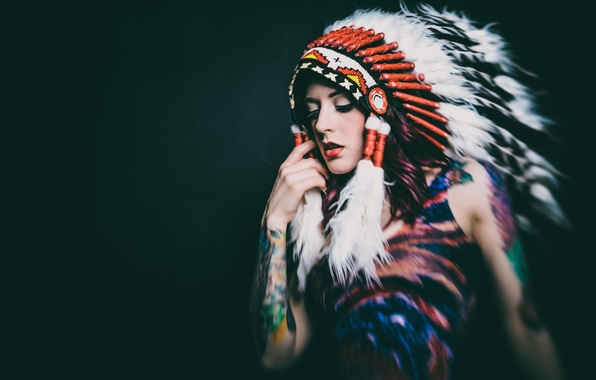 Picture girl, face, background, feathers, headdress