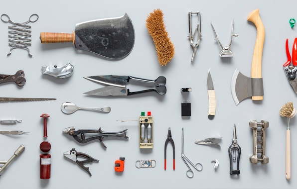 Picture knife, tool, axe, saw, scissors, set, stand, utensils