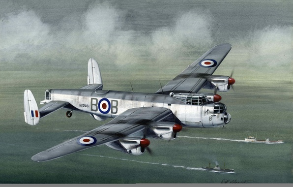 Picture sea, the sky, clouds, flight, figure, ships, art, bomber, British, heavy, Lancaster, four-engine