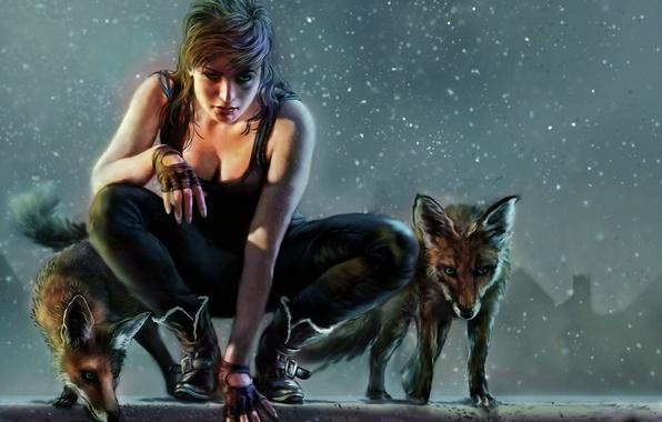 Picture girl, fantasy, art, Fox, hunter