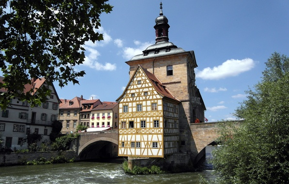 Picture the sky, trees, bridge, river, tower, home, Germany, Bamberg