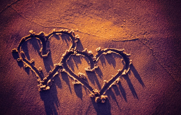 Photo Wallpaper Heart Beach Sand Sunset Love