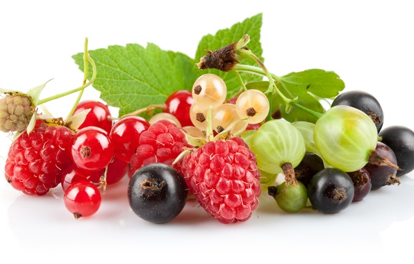 Picture berries, raspberry, gooseberry, red currant, black currant, white currants