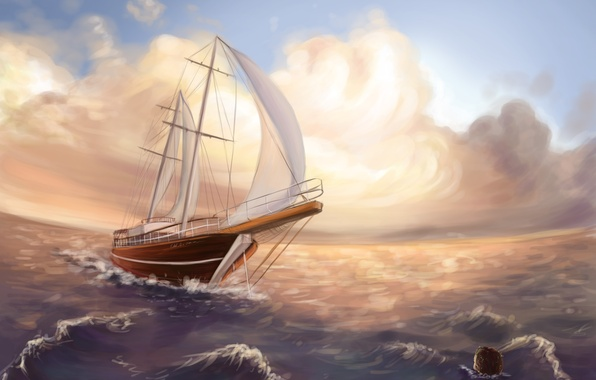 Picture sea, wave, the sky, clouds, ship, mermaid, art, painting