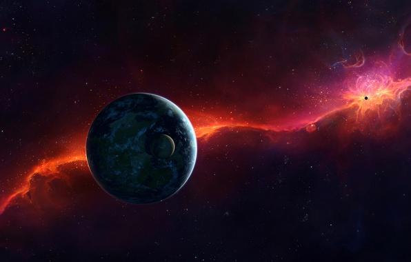 Picture stars, light, the universe, planet, satellite