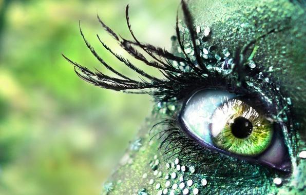 Picture girl, green, eyes, rhinestones