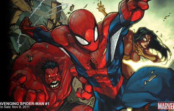Picture team, Marvel, comic, comics, Spider-man, Red Hulk, Red Hulk, Spider-woman, Spider-Woman, Avenging Spider-Man