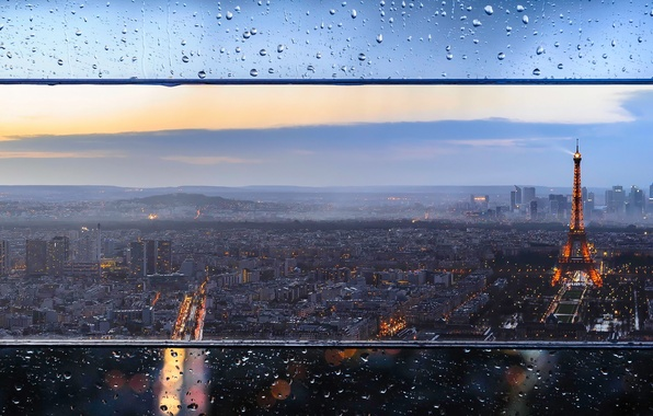 Picture glass, drops, the city, lights, France, Paris, tower, home, the evening, Eiffel, bokeh