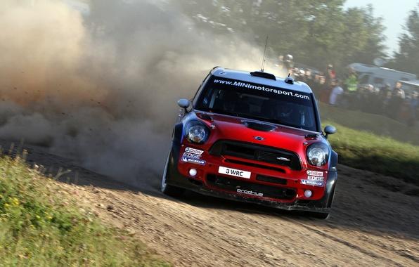 Picture Red, Dust, Sport, Skid, Mini Cooper, WRC, Rally, MINI, Mini Cooper