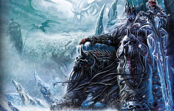 Picture ice, snow, weapons, sword, army, warrior, the throne, wow, world of warcraft, arthas