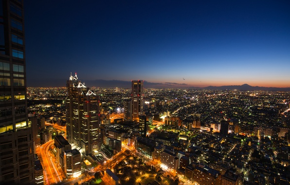 Picture the sky, sunset, lights, view, building, height, skyscrapers, the evening, Japan, lighting, Tokyo, panorama, blue, …