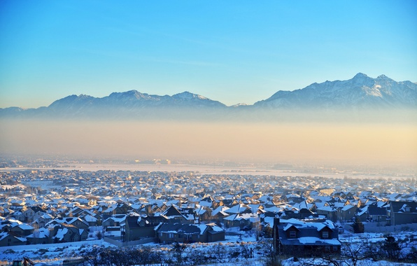 Picture winter, mountains, nature, the city, lake, building, home, Utah, USA, USA, Utah, United States of …