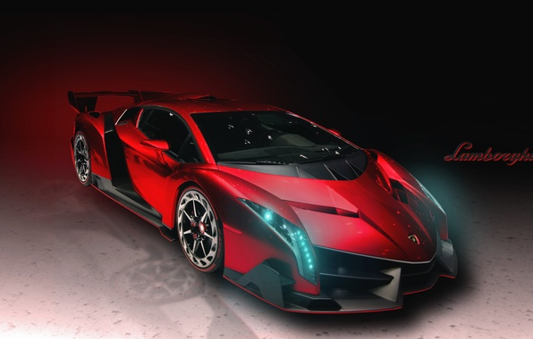 Picture Red, Lamborghini, Machine, The hood, Lights, Car, Supercar, Lamborghini, The front, Veneno