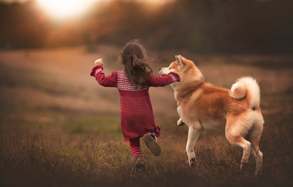 Picture joy, dog, running, girl, friends