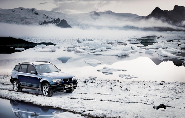 Picture cold, winter, the sky, water, snow, mountains, machine, fog, bmw, BMW, ice, frost, ice
