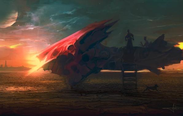 Picture planet, ship, art, ladder