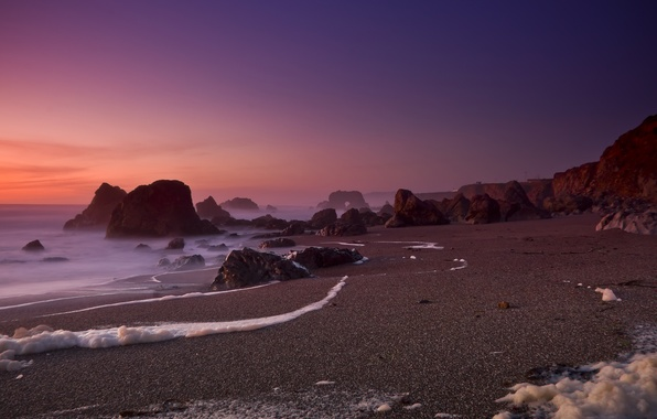 Picture sand, beach, rocks, The ocean, CA, california, ocean, bodega bay, Foam Of The Sea