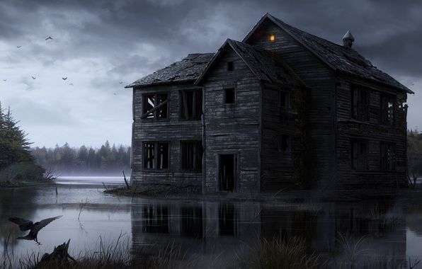 Picture water, light, birds, house, swamp, wooden, ruins, crow, gloom