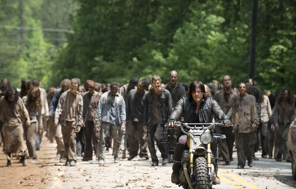 Picture zombies, bike, The Walking Dead, The walking dead, Norman Reedus, Daryl