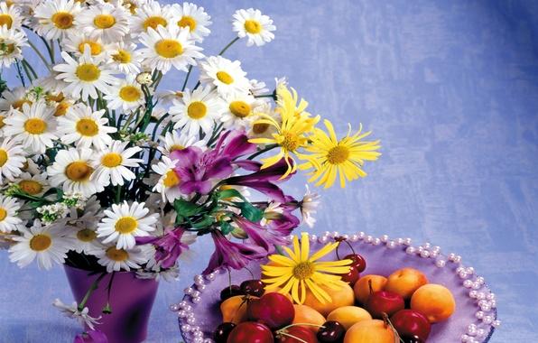 Picture flowers, cherry, photo, chamomile, bouquet, still life, peaches, cherry, alstremeria