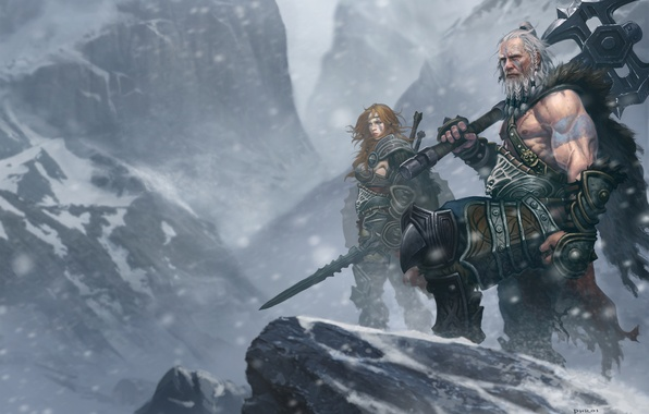 Picture snow, mountains, sword, armor, art, axe, tattoo, diablo 3, barbarian, two-handed, Barbara)))