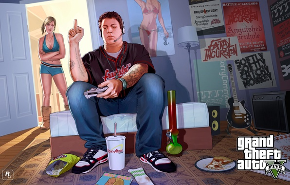 Picture room, boy, girl, poster, gta, Grand Theft Auto V, Rockstar Games, Jimmy, Tracy, Tracey and …