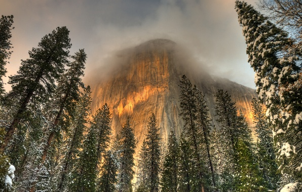 Picture winter, clouds, snow, trees, fog, rocks, hdr, CA, USA, Yosemite, the top
