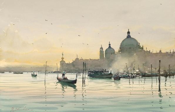 Picture water, birds, the city, boats, morning, watercolor, Italy, Venice, gondola, Joseph Zbukvic