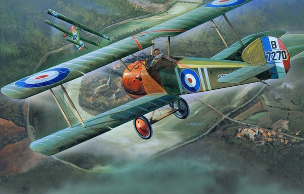 Picture the plane, fighter, art, British, biplane, single, times, aircraft, known, The first world war, years., …