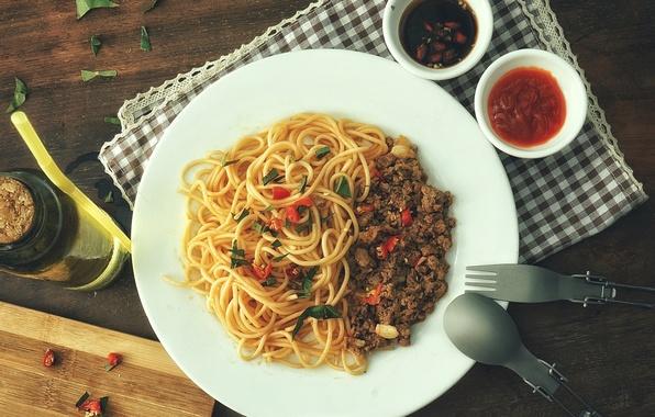 Picture meat, spaghetti, sauce, pasta