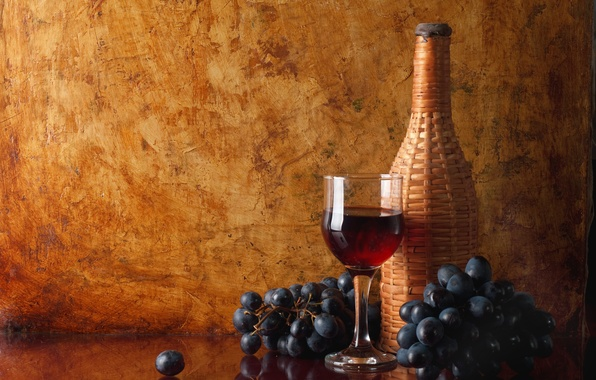 Picture reflection, table, wine, red, glass, bottle, grapes, bunches
