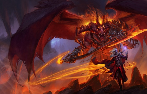 Picture magic, wings, monster, the demon, monster, axe, Sword Coast Legends
