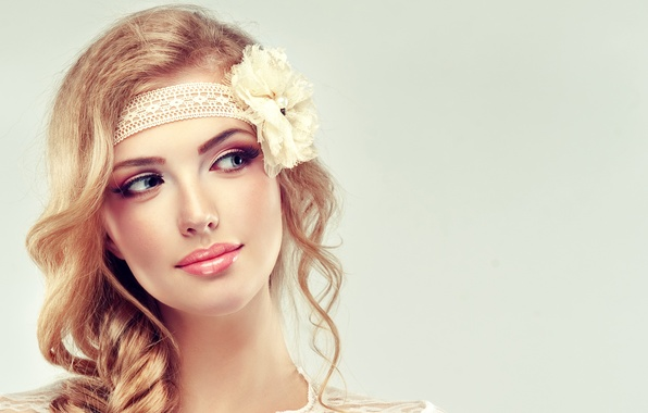 Picture flower, girl, face, smile, makeup, braid