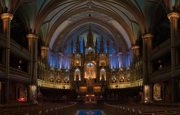 Picture Wallpaper, the building, interior, cross, Church, wallpaper, hall, benches, Jesus Christ, Holy place, beautiful Cathedral