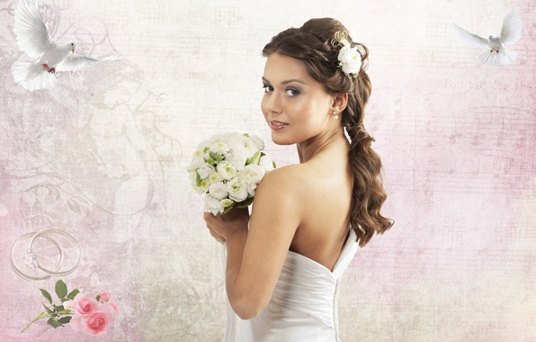Picture roses, Girl, bouquet, ring, pigeons, wedding