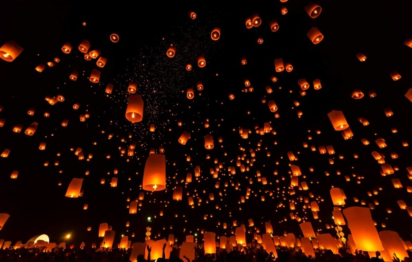 sky, night, lights, red, air, lanterns