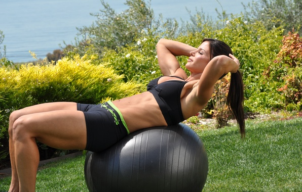 Picture brunette, workout, fitness, outdoors, abs, ball training