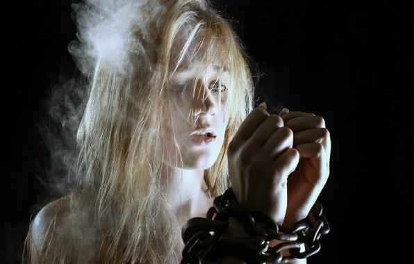 Photo wallpaper girl, background, chain