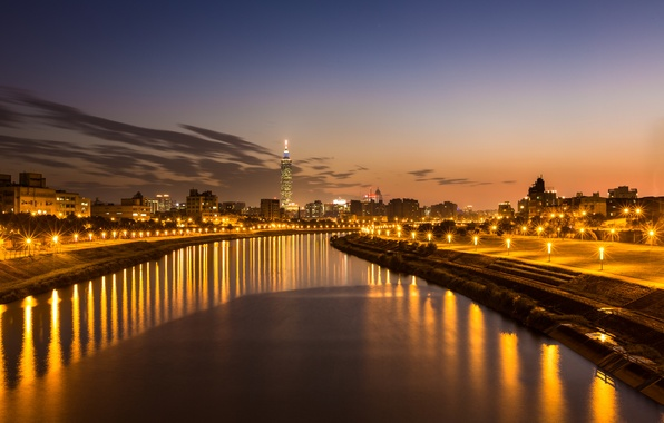 Picture the sky, clouds, light, sunset, orange, the city, lights, reflection, river, the evening, lights, China, …