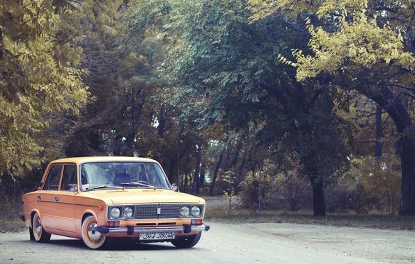 Picture classic, Lada, VAZ, 2106, yellow.