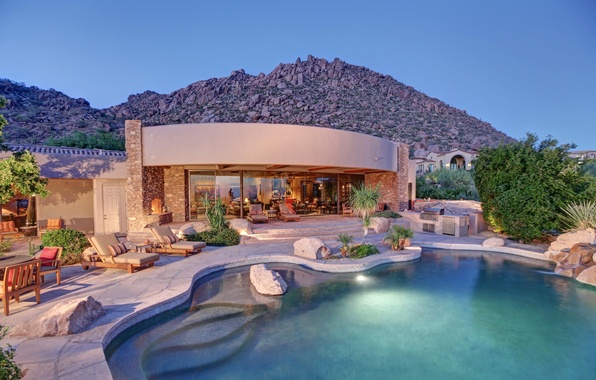 Picture house, stones, sofa, Villa, pool, house, pool, living room, home, exterior, chair., exterior