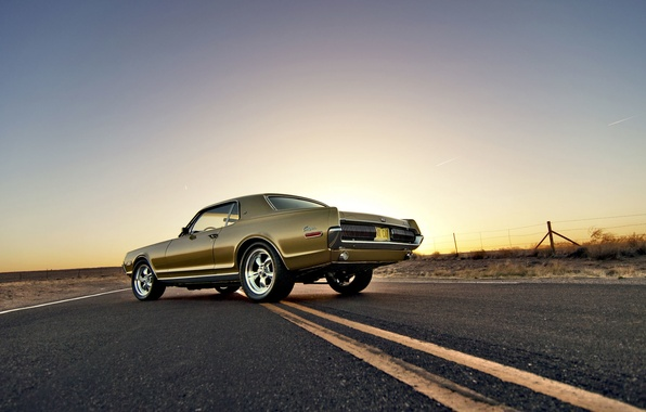 Picture road, the sky, the fence, the evening, wheel, back, Cougar, 1967, tail lights, Mercury