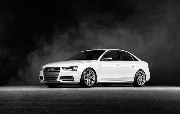 Picture Audi, white, Vorsteiner, front