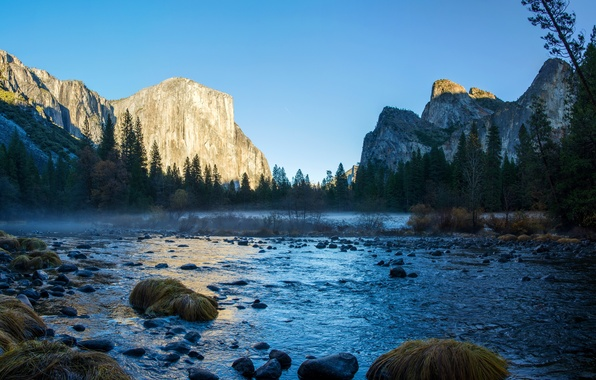 Picture trees, stones, rocks, CA, USA, river, Yosemite national Park, Yosemite National Park